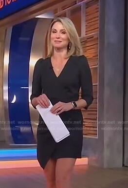 Amy's black pinstripe wrap mini dress on Good Morning America