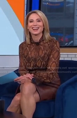 Amy's brown snake print blouse and leather skirt on Good Morning America