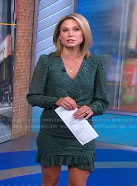 Amy's green printed mini dress and suede belt on Good Morning America