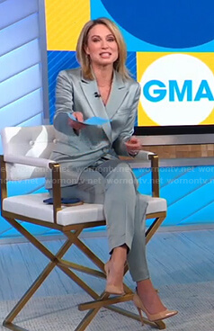 Amy's green satin suit on Good Morning America