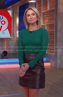 Amy's green pointelle sweater and brown leather skirt on Good Morning America