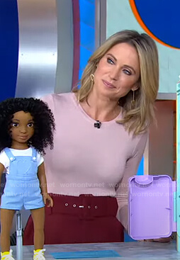 Amy's pink top and red belted pants on Good Morning America