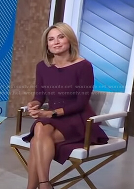 Amy's purple belted ruffle dress on Good Morning America