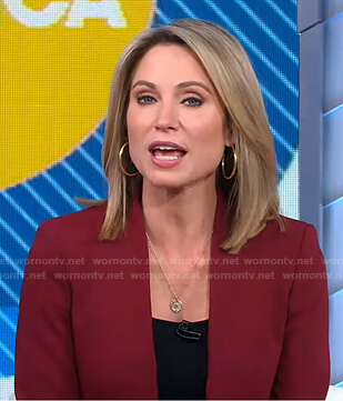 Amy's burgundy lapelless blazer on Good Morning America