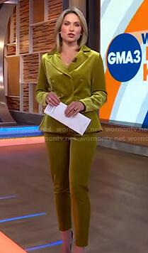 Amy's yellow velvet suit on Good Morning America