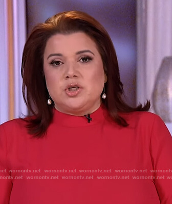 Ana's red mock neck top on The View