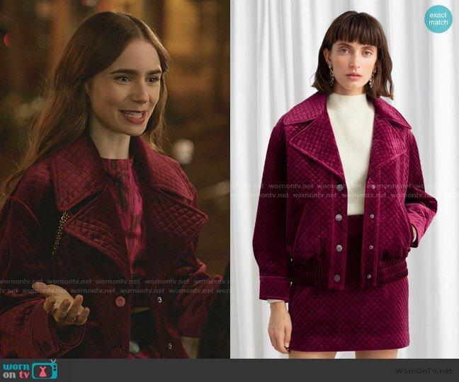Quilted Velour Jacket by & Other Stories worn by Emily Cooper (Lily Collins) on Emily in Paris