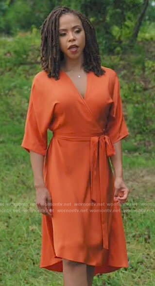 Andi's orange wrap dress on Tyler Perrys Sistas