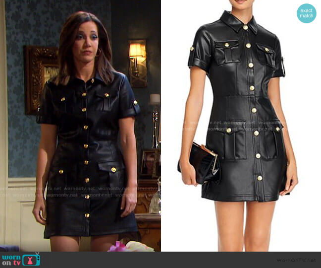 Button-Front Faux-Leather Mini Dress by Aqua worn by Heather Lindell on Days of our Lives