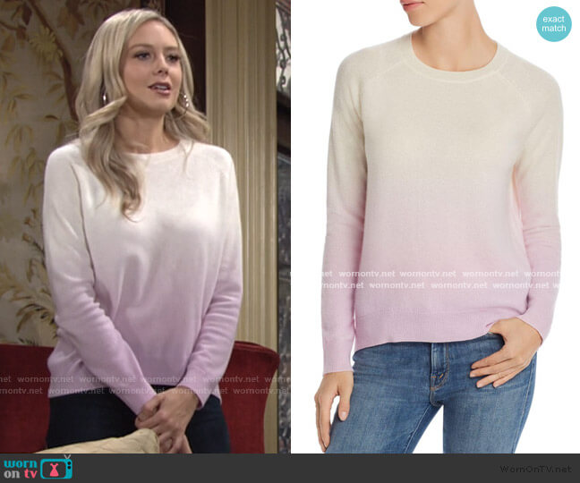 Dip-Dye Cashmere Sweater by Aqua Cashmere worn by Abby Newman (Melissa Ordway) on The Young & the Restless