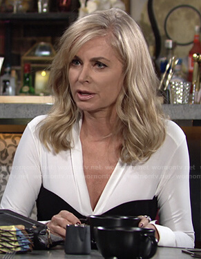 Ashley's black and white long sleeved dress on The Young and the Restless