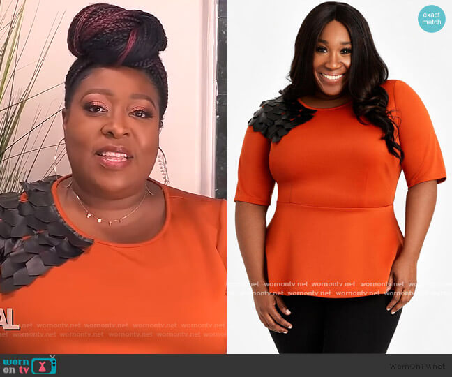 Embellished Shoulder Top by Ashley Stewart worn by Loni Love  on The Real