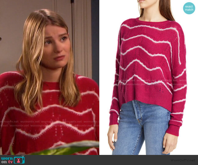 Wave Stripe Pointelle Stitch Cashmere & Silk Sweater by Autumn Cashmere worn by Alice Caroline Horton (Lindsay Arnold) on Days of our Lives