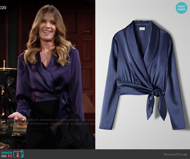 Salome Satin Wrap Blouse by Nanushka worn by Phyllis Summers (Michelle Stafford) on The Young & the Restless