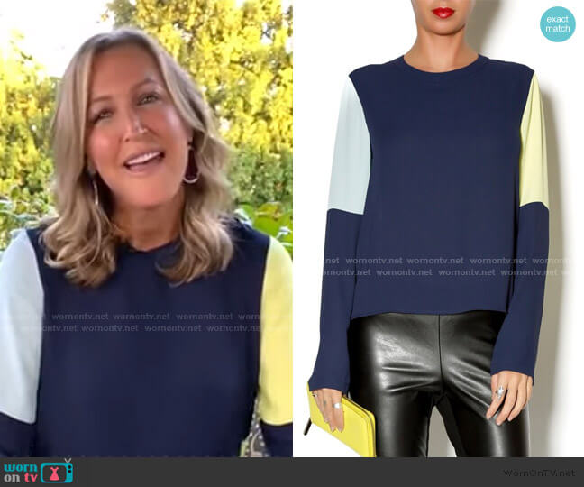 Donella Colorblock Blouse by Bcbgmaxazria worn by Lara Spencer  on Good Morning America