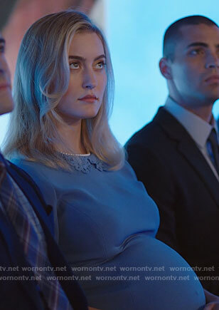 Becky's blue maternity dress with lace collar on Filthy Rich
