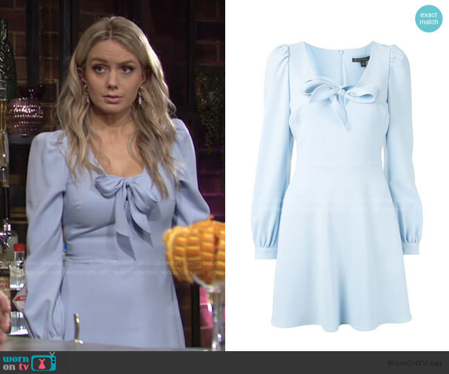 Tie-Neck Flared Mini Dress by Black Halo worn by Abby Newman (Melissa Ordway) on The Young & the Restless