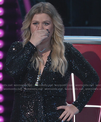 Kelly's black sequin tie jumpsuit on The Voice