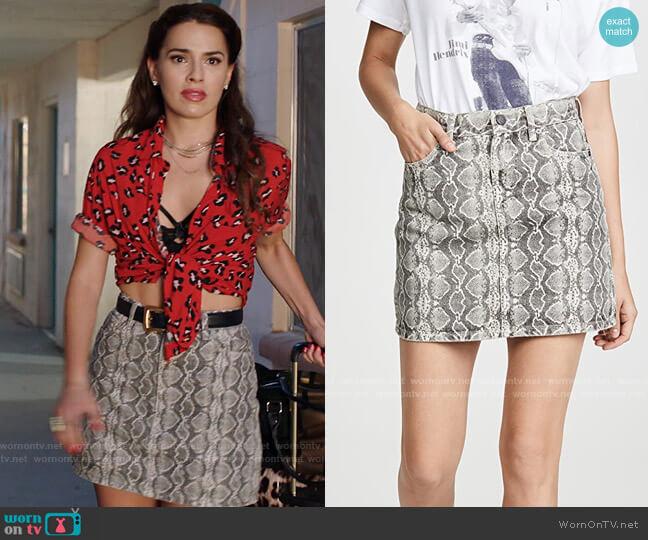 Blank Denim Snake Along Miniskirt worn by Ginger Sweet (Melia Kreiling) on Filthy Rich