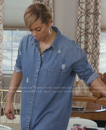 Robyn's distressed denim shirtdress on The Real Housewives of Potomac