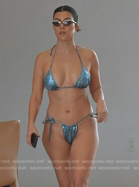 Kourtney's blue metallic bikini on Keeping Up with the Kardashians
