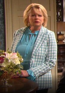 Bonnie's green gingham tweed blazer on Days of our Lives