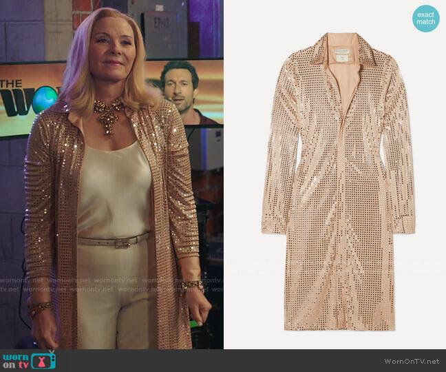 Bottega Veneta Sequin-embellished satin-jersey midi dress worn by Margaret Monreaux (Kim Cattrall) on Filthy Rich