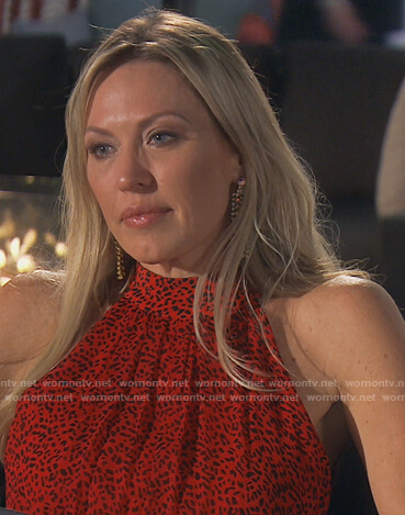 Braunwyn's red leopard halter maxi dress on The Real Housewives of Orange County