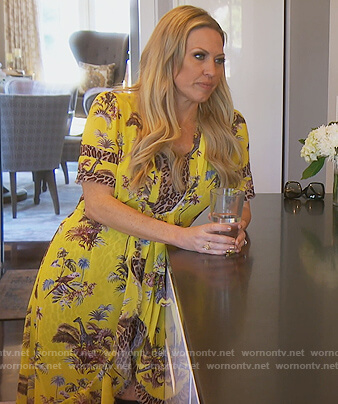 Braunwyn's yellow safari print wrap dress on The Real Housewives of Orange County