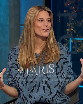 Brooke Jaffe's blue Paris sweater on E! News Daily Pop