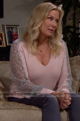 Brooke's pink lace trim sleeve blouse on The Bold and the Beautiful