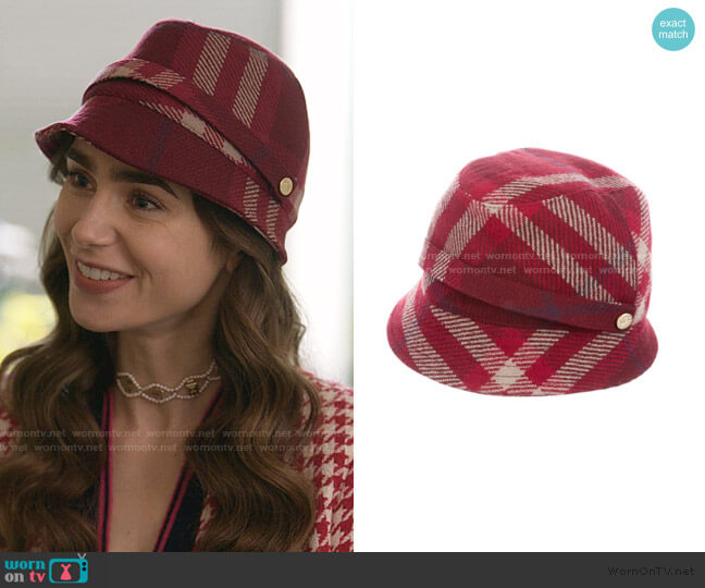 Cloche Hat by Burberry worn by Emily Cooper (Lily Collins) on Emily in Paris