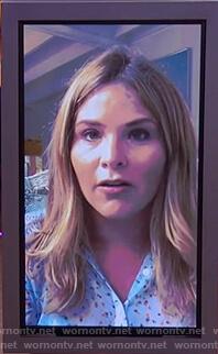 Jenna Bush's blue floral blouse on The Kelly Clarkson Show
