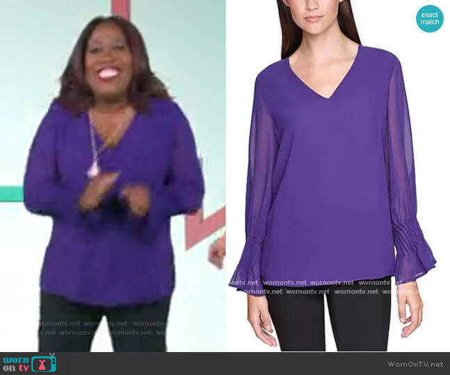 Pleated Flutter-Sleeve Top by Calvin Klein worn by Sheryl Underwood  on The Talk