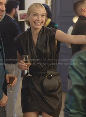 Camille's black leather wrap dress on Emily in Paris