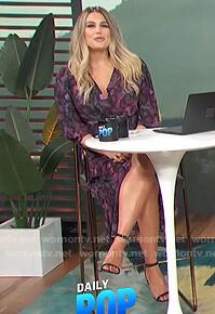 Carissa's purple floral v-neck dress on E! News Daily Pop