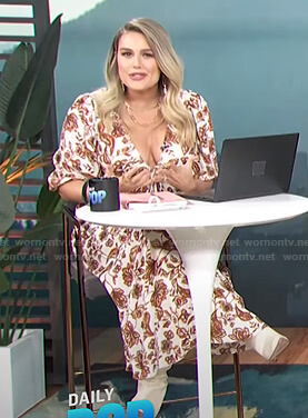 Carissa's white floral tie front midi dress on E! News Daily Pop