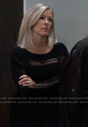 Carly's black open stitch sweater on General Hospital