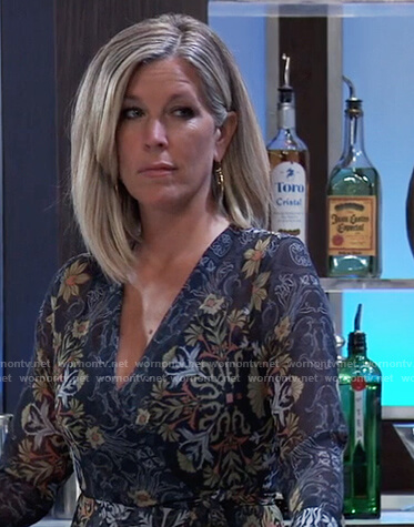 Carly's blue floral wrap dress on General Hospital