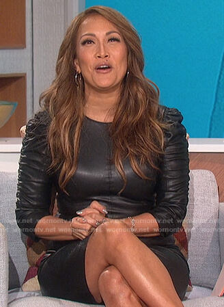 Carrie's black leather ruched sleeve dress on The Talk