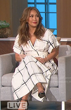Carrie's white windowpane wrap dress on The Talk