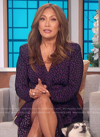 Carrie's purple polka dot dress on The Talk