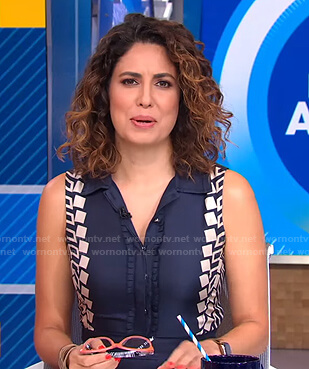 Cecilia's navy printed trim sleeveless dress on Good Morning America