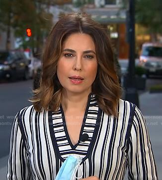 Cecilia's white striped v-neck top on Good Morning America
