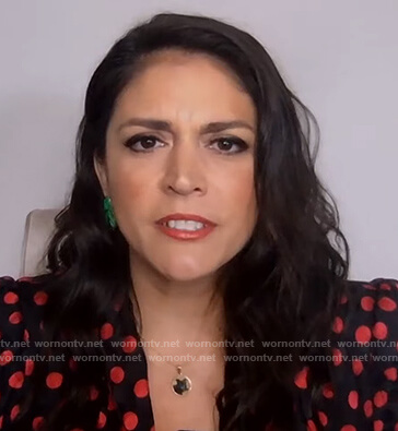 Cecily Strong's black polka dot print blouse on on The Kelly Clarkson Show