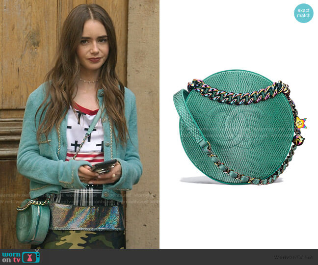 Round as Earth Bag by Chanel worn by Emily Cooper (Lily Collins) on Emily in Paris
