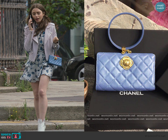 Evening by the Sea bag by Chanel worn by Emily Cooper (Lily Collins) on Emily in Paris