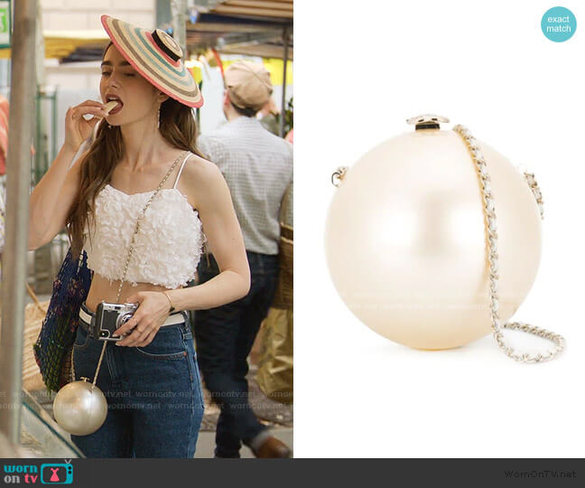 Pearl Bag by Chanel worn by Emily Cooper (Lily Collins) on Emily in Paris