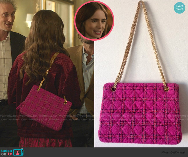 Tweed Crossbody Bag by Chanel worn by Emily Cooper (Lily Collins) on Emily in Paris