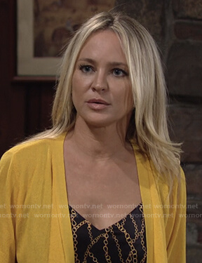 Sharon's black chain print cami and yellow cardigan on The Young and the Restless